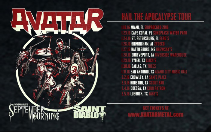 Avatar Tour with special guests September Mourning and Saint Diablo