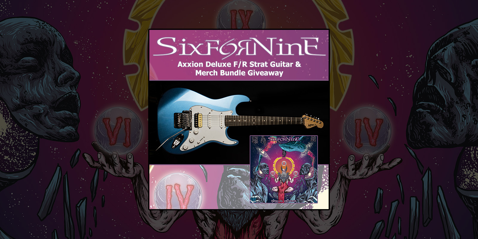 Enter to Win - Axxion Deluxe F/R Strat Guitar & Merch Giveaway
